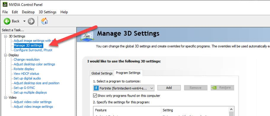 Nvidia Control Panel Manage 3d Settings