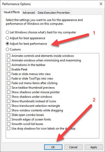 Windows Performance Options Best Performance